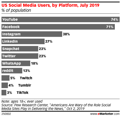 US Social Media Users, by Platform, July 2019 (% of population)